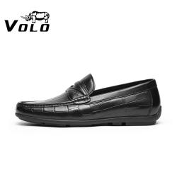 VOLO犀牛名牌2021年春新款豆豆鞋男真皮乐福鞋一脚蹬软底休闲牛皮 134210391D