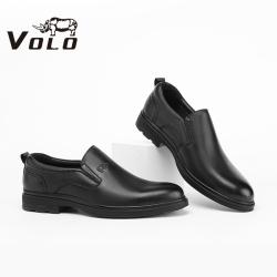 VOLO犀牛2021春冬新款休闲男百搭黑色休闲商务鞋圆头系带低帮皮鞋138207011D
