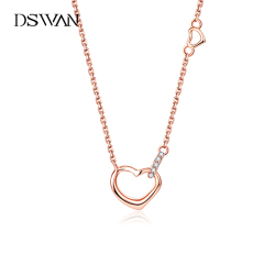 DSWAN爱心形项链女纯银锁骨链简约气质小众设计新款潮玫瑰金吊坠 YNF320D21