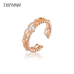 DSWAN珍珠戒指女时尚个性高级感设计食指925纯银玫瑰金镂空开口戒 YRG119K2