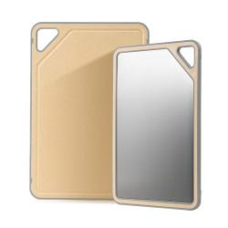 双枪 银离子抗菌小麦菜板 304不锈钢菜板 双面砧板 切菜板案板面板粘板 防霉防滑硅胶包边案板SZ54001