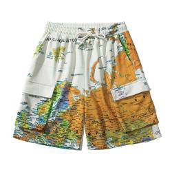 满印地球大口袋运动裤日系炸街情侣个性夏季短裤男女五分裤潮 BLGD102018