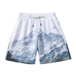 新款雪山卡通印花短裤男女沙滩速干内衬双层宽松大码运动五分裤夏 BLTK101033