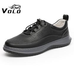 VOLO犀牛2021夏季男士超轻休闲鞋男网洞皮鞋真皮年轻款一脚蹬男鞋105213121L