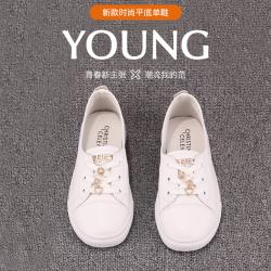 瑟莉亚 小白鞋女2021春季新款浅口真皮坡跟配裙子百搭休闲板鞋2138