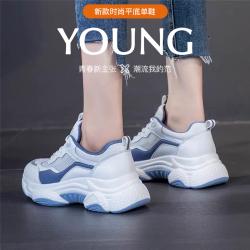 瑟莉亚 2021夏新款时尚撞色老爹鞋厚底牛皮休闲女单鞋78102