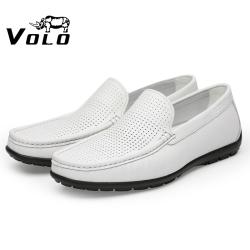 VOLO犀牛豆豆鞋2021年新款男真皮夏季档次薄款透气网孔皮鞋一脚蹬134213231L