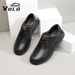 VOLO犀牛男士商务休闲皮鞋真皮四季款头层牛皮百搭2021年新款系带 155215121D