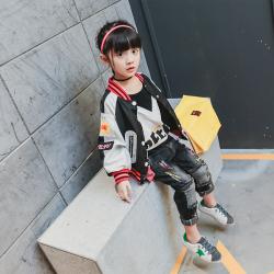 TBEQ01505 A714贴布印花红条螺纹领夹克一件代发2018新款女童夹克短款女大童春款中大童小学生韩版潮外套