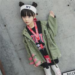 一件代发儿童春款韩版可爱外衣女童中长款风衣女大童学生春季外套