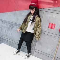 TBEQ01505 A715刺绣夹克棒球服一件代发女童宽松夹克外套2018春款童装中大童拉链衫棒球服上衣潮
