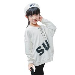 TBEQ01505 A717领口割破系绳卫衣一件代发女童印花字母卫衣2018春款韩版小女孩中大童圆领长袖套头