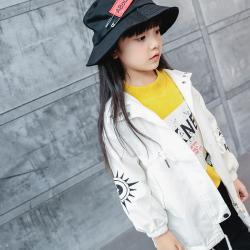 TBEQ01505 A710刺绣风衣一件代发女童春款外套2018新款韩版风衣儿童外套女中长款春秋装潮