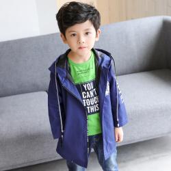 OYXXCAXL811 CW320五角星化纤风衣一件代发春款男童外套中长款15小学生大童10男孩12岁青少年风衣13