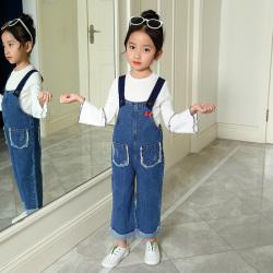 YYJD05603 口袋背带裤套装女童春季套装2018新款女童口袋牛仔背带裤韩版两件套