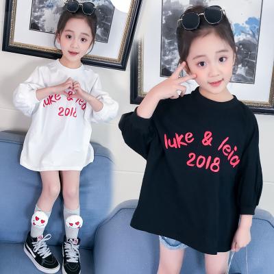 2018春季新款女童印花泡泡袖打底衫 韩版时尚七分袖T恤童装批发