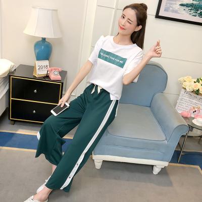女人志8020#2018运动套装夏装实拍T恤+阔腿休闲长裤套装两件