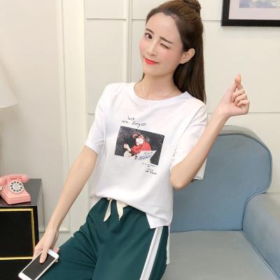 女人志8030#新款韩版开叉条纹阔腿裤运动套装女宽松休闲两件套