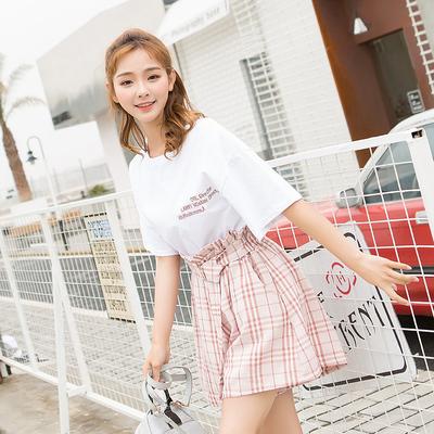 女人志 319#小清新女夏两件套时尚2018新款学生俏皮格子套装潮