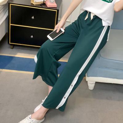女人志8030#实拍新款韩版开叉条纹阔腿裤运动裤休闲百搭长裤