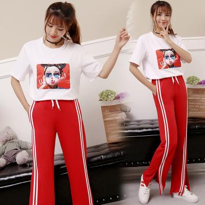 女人志6602#韩版时尚印花短袖T恤+运动长裤两件套 套装