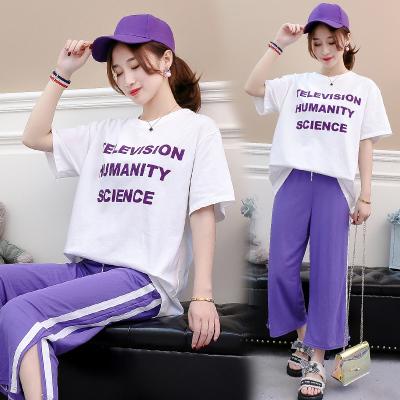 女人志6605#2018夏季新款韩版字母T恤+运动休闲显瘦裤子套装