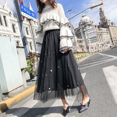 3302#实拍2018秋冬新款加珠网纱裙蛋糕裙下半身裙