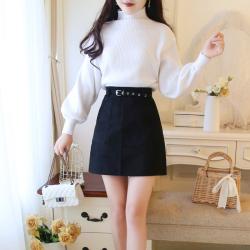 8175套装女2018秋冬新款灯笼袖长袖宽松针织毛衣+A字半身裙两件套