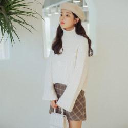006#冬季新款 韩版高领宽松慵懒风甜美小清新款套头针织毛衣