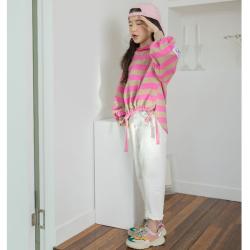 2019韩版春季新款女童条纹连帽长袖卫衣中大儿童个性时髦套头卫衣