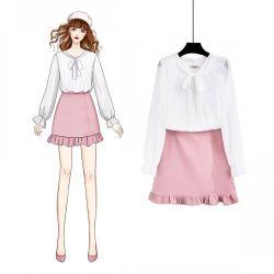 2019春夏新款白色仙女气质长袖公主蝴蝶结 雪纺衫上衣女短裙套装