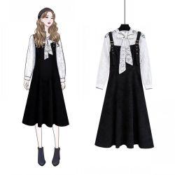 2019初春单件套装背带连衣裙两件套长袖蝴蝶结蕾丝灯笼袖打底衫