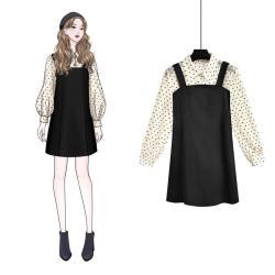 很仙的套装韩版爱心雪纺衬衫长袖微透上衣+纯色背带裙a字裙摆洋