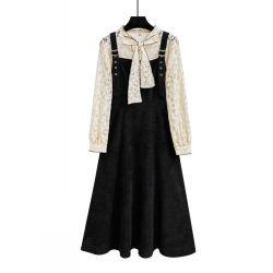 0902#实拍单件套装背带连衣裙两件套长袖蝴蝶结蕾丝灯笼袖打底衫