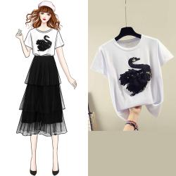 0018#实拍 2019新款气质小天鹅绣花短袖T恤+网纱蛋糕半身裙两件套
