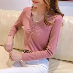 7019#2019秋裝新款韓版女裝純色V領抽褶直筒長袖T恤女打底衫