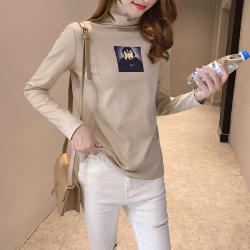 7023#2019秋冬高领无缝下摆袖子舒适型印花打底衫女长袖T恤