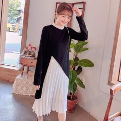 6982#两件套连衣裙新款女装2019时尚穿搭黑色下摆分叉长款裙