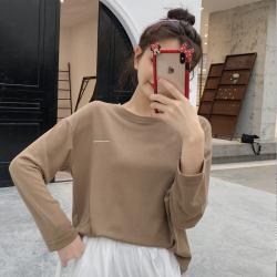 6280#网红同款慵懒风上衣薄款长袖T恤内搭打底衫女韩版宽松