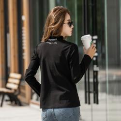6934#实拍半高领前后两穿字母加厚磨毛高弹力打底衫女长袖T恤