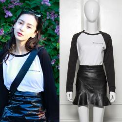 6750#杨颖明星同款前后印花拼接黑色学院打底衫女长袖T恤
