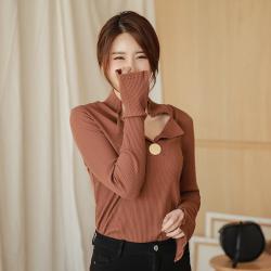 6722#显瘦翻领V设计加长开叉袖韩版修身纯色针织高弹打底衫长袖T恤女