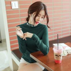 8795#2019秋冬新款女装轻薄高弹半高领字母打底衫长袖T恤女