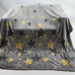 180cm*230cm  印花厚实法兰绒盖毯,1.3公斤,印花星星,手感柔软爽滑!