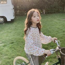 2019韩版中大女童秋季新款洋气时尚后系绳圆点泡泡袖娃娃衫童装潮款
