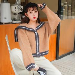 甜美海军领撞色套头假开衫外穿宽松针织衫女毛衣外套2019秋冬新款韩单排扣长袖上衣YS9980100