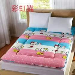 單雙人可折疊加厚印花軟榻榻米床墊斜紋磨毛學生用床褥 磨毛墊被 床墊  5色可選