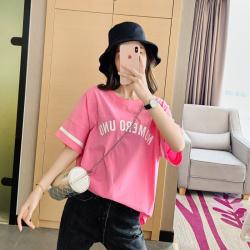 1594#实拍 2020春夏新款女装韩版纯棉字母宽松学院风短袖T恤女