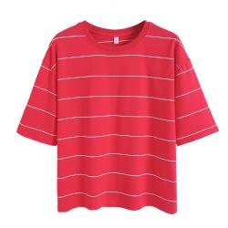 松雨1552#2020春装新款韩版宽松宽条纹纯棉短袖T恤女上衣大码女装
