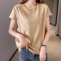 6621#实拍2020夏装新款基础款纯色单肩镂空宽松高弹短袖T恤女衣服